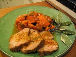 Crock Pot Garlic Roast Pork and Sweet Potatoes
