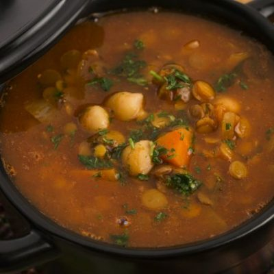 **Slow Cooker Moroccan Style Lentil and Garbanzo Soup