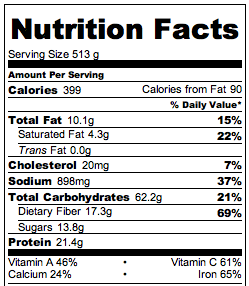 Crock Pot Vegetarian Enchiladas Nutritional Info