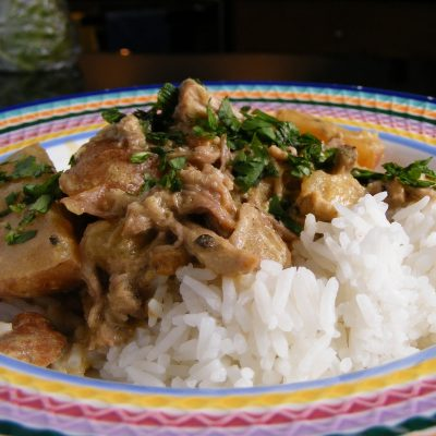 Slow Cooker Green Curry Pork and Coconut