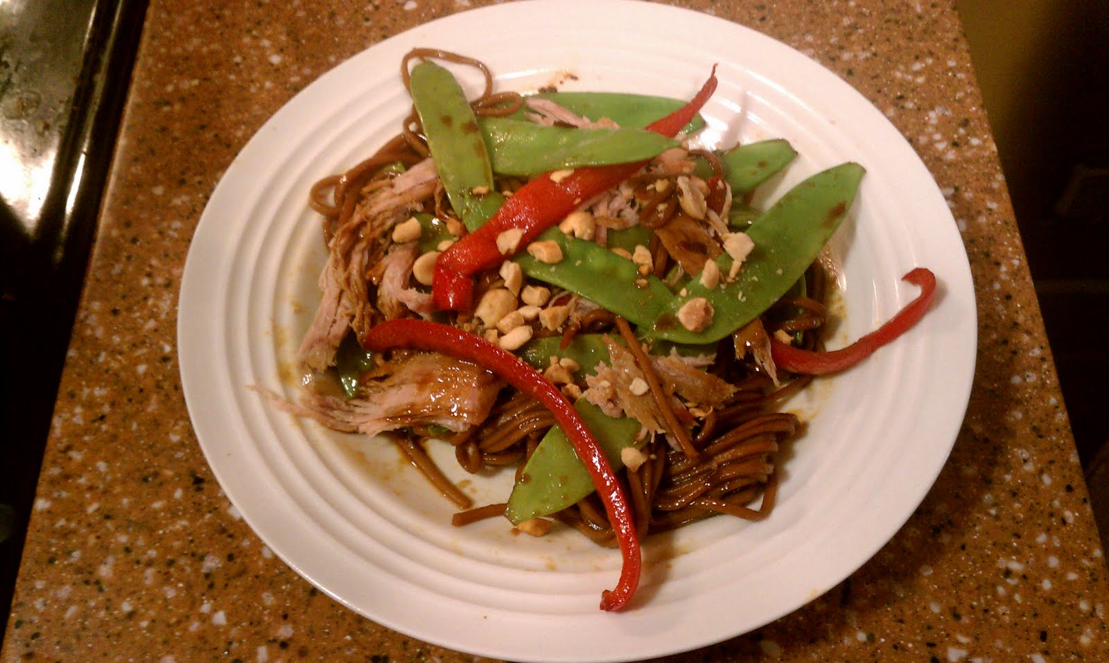 Crock Pot Asian Pork With Snow Peas, Red Peppers, and Soba Noodles