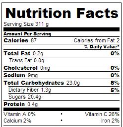 Crock Pot Berry Lemonade - Nutrition