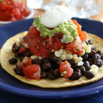 **Slow Cooker Barbecued Pulled Turkey Tostadas