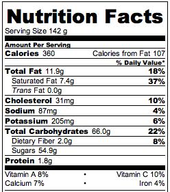 Slow Cooker Rhubarb Crisp Nutrition * *