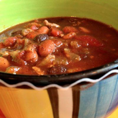 **Slow Cooker Ground Turkey Three Bean Chili