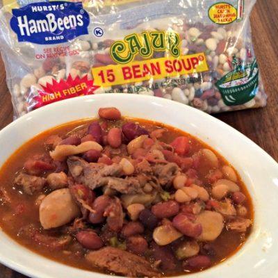 Slow Cooker Cajun Turkey 15 Bean Soup
