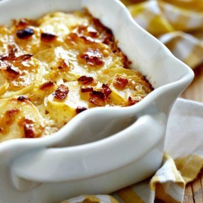 ** Slow Cooker White Cheddar Au Gratin Potatoes