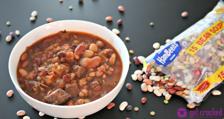 ** Slow Cooker 15 Bean Tomato Beef Soup