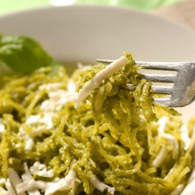 **Slow Cooker Spaghetti Squash with Pesto