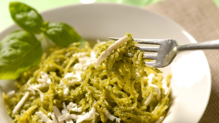 **Slow Cooker Spaghetti Squash with Pesto